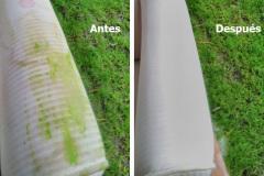 Antes y después de los brazos de un sofá