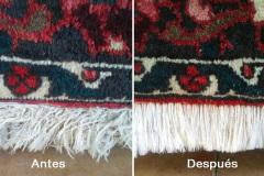 Antes y después de la limpieza de los flecos de una alfombra